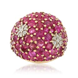 C. 1960 Vintage 6.00 ct. t.w. Ruby and .30 ct. t.w. Diamond Ring in 14kt Yellow Gold, , default