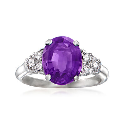 C. 1990 Vintage 2.75 Carat Amethyst Ring with .15 ct. t.w. Diamonds in 14kt White Gold