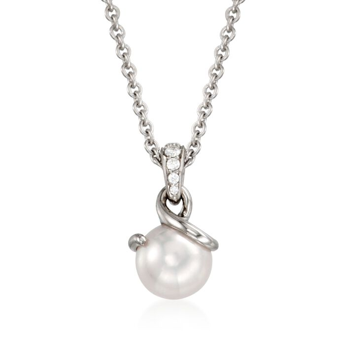 "Mikimoto Akoya Pearl Necklace with Diamonds in 18-Karat White Gold. 18"", , default"