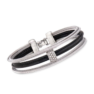 "ALOR ""Noir"" Black and Gray Stainless Steel Cable Bracelet with Diamond Accents"