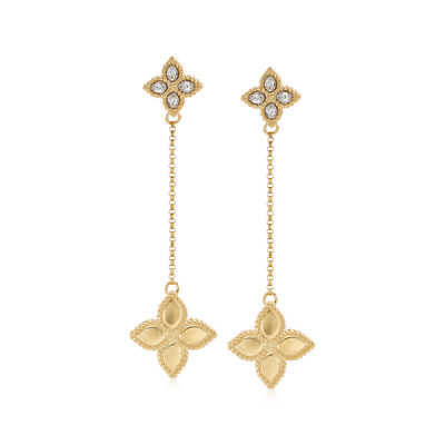 "Roberto Coin ""Princess Flower"" Diamond-Accented Drop Earrings in 18kt Yellow Gold"