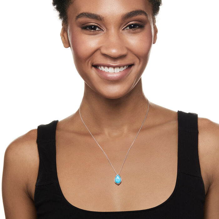 Gabriel Designs Turquoise Doublet Pendant Necklace in Sterling Silver