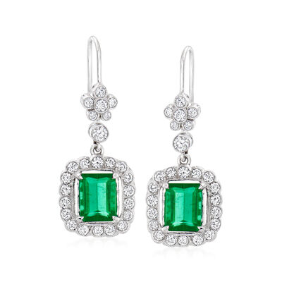 C. 2000 Vintage 2.50 ct. t.w. Green Tourmaline Drop Earrings with 1.20 ct. t.w. Diamonds in 18kt White Gold