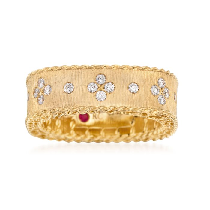 Roberto Coin Princess .32 Carat Total Weight Diamond Band in 18-Karat Yellow Gold. Size 7, , default