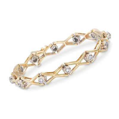 C. 1990 Vintage .90 ct. t.w. Diamond Bracelet in 14kt Yellow Gold, , default