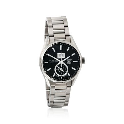 TAG Heuer Carrera Gmt Men's 41mm Stainless Steel Watch - Black Dial