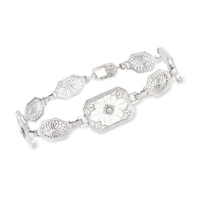 C. 1950 Vintage Rock Crystal Filigree Bracelet with Diamond Accents in 14kt White Gold