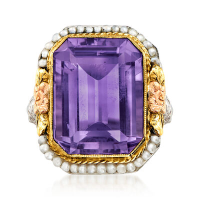 C. 1950 Vintage 9.25 Carat Amethyst Ring with Seed Pearls in 14kt Tri-Colored Gold