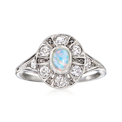 C. 1940 Vintage Opal and .45 ct. t.w. Diamond Ring in Platinum