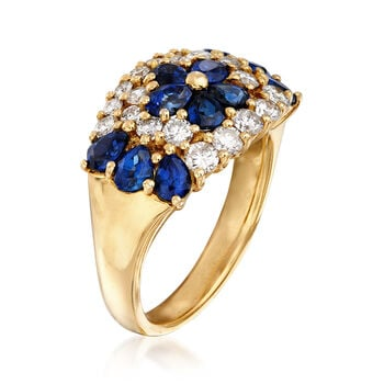 C. 1990 Vintage 2.18 ct. t.w. Sapphire and .86 ct. t.w. Diamond Flower Ring in 18kt Yellow Gold. Size 6.75, , default