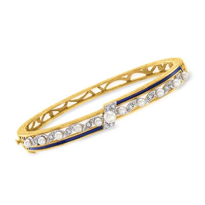 C. 1960 Vintage 3.3-4.7mm Cultured Pearl and .25 ct. t.w. Diamond Bangle Bracelet with Blue Enamel in 14kt Two-Tone Gold
