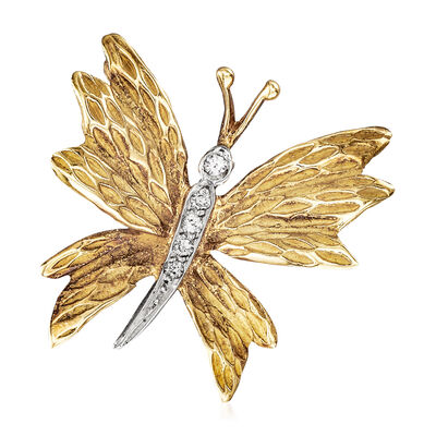 C. 1980 Vintage Tiffany Jewelry 18kt Yellow Gold Diamond-Accented Butterfly Pin, , default