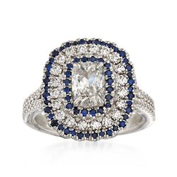 Henri Daussi 1.33 ct. t.w. Diamond and .34 ct. t.w. Sapphire Engagement Ring in 18kt White Gold, , default