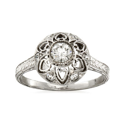 C. 2000 Vintage .43 ct. t.w. Diamond Flower Ring in 14kt White Gold, , default