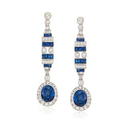 C. 2000 Vintage 6.50 ct. t.w. Sapphire and 1.30 ct. t.w. Diamond Drop Earrings in 18kt White Gold, , default