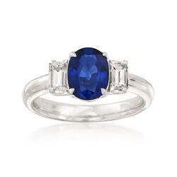 C. 2000 Vintage 1.43 Carat Ceylon Sapphire and .30 ct. t.w. Diamond Ring in Platinum, , default