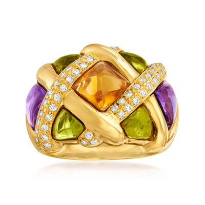 C. 1980 Vintage 5.00 ct. t.w. Multi-Gemstone and .46 ct. t.w. Diamond Basketweave Ring in 18kt Yellow Gold, , default