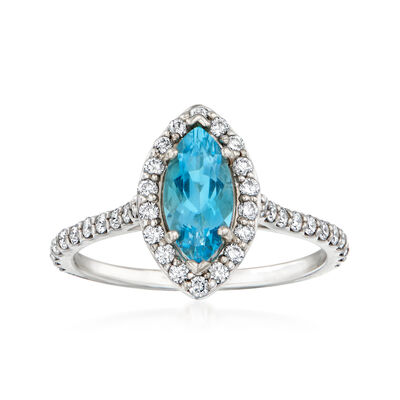 C. 1980 Vintage .64 Carat Aquamarine and .55 ct. t.w. Diamond Ring in 14kt White Gold