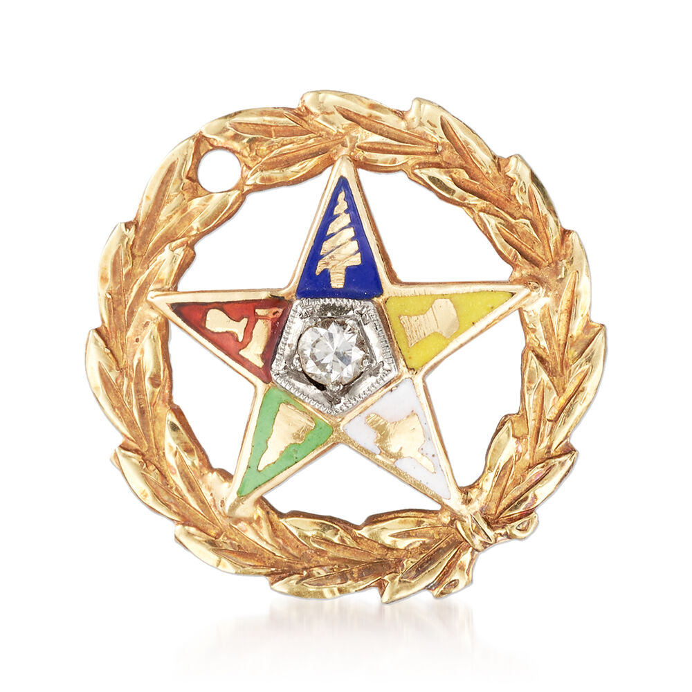 C  1980 Vintage Multicolored Enamel Masonic Star Pin with Diamond Accent in  14kt Yellow Gold