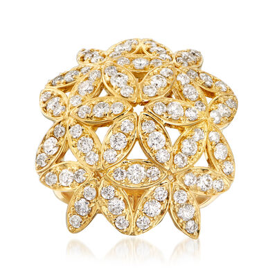 C. 1980 Vintage 1.70 ct. t.w. Flower Bouquet Ring in 18kt Yellow Gold, , default