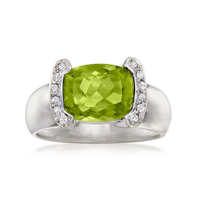 C. 1990 Vintage 3.45 Carat Peridot Ring with .10 ct. t.w. Diamonds in 18kt White Gold