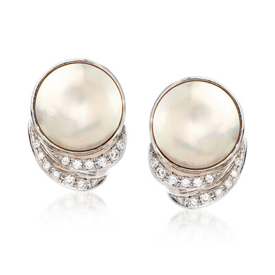 C. 1990 Vintage Tasaki Mabe Pearl and .78 ct. t.w. Diamond Clip-On Earrings in Platinum