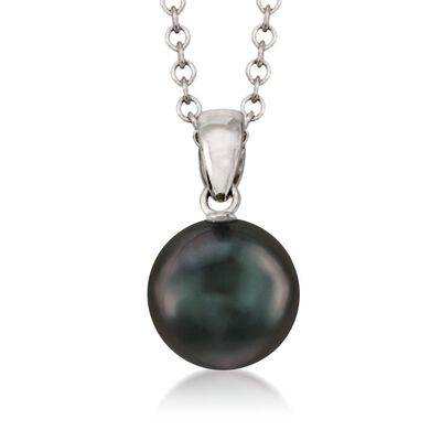 Mikimoto 9mm Black South Sea Pearl Necklace in 18kt White Gold    , , default