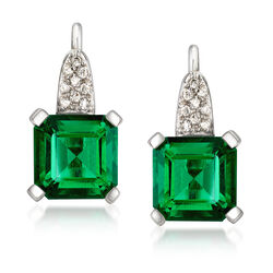C. 1990 Vintage 9.00 ct. t.w. Synthetic Green Quartz and .25 ct. t.w. Diamond Drop Earrings in 14kt White Gold, , default