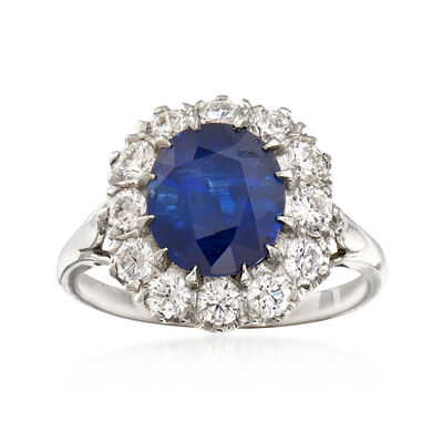 3.84 Carat Sapphire and 1.00 ct. t.w. Diamond Ring in Platinum