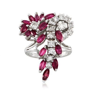 C. 1970 Vintage 2.20 ct. t.w. Ruby and 1.25 ct. t.w. Diamond Cluster Cocktail Ring in 14kt White Gold