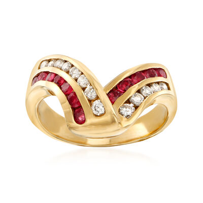 C. 1990 Vintage .50 ct. t.w. Ruby and .35 ct. t.w. Diamond V-Shape Ring in 14kt Yellow Gold, , default