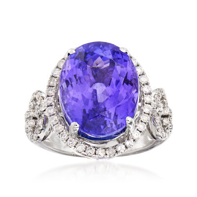 C. 1990 Vintage 11.50 Carat Tanzanite and 1.50 ct. t.w. Diamond Ring in 18kt White Gold, , default
