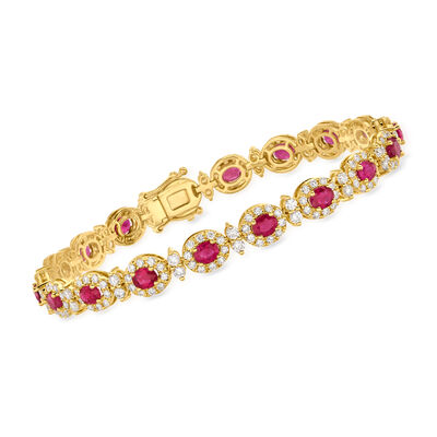 C. 1990 Vintage 6.11 ct. t.w. Ruby and 3.43 ct. t.w. Diamond Bracelet in 18kt Yellow Gold