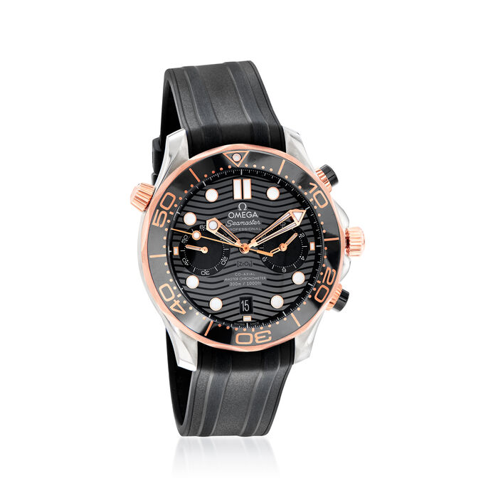 Omega Seamaster Diver Men's 44mm Auto Chronograph Stainless Steel and 18kt Rose Gold Watch with Black Dial and Rubber Strap