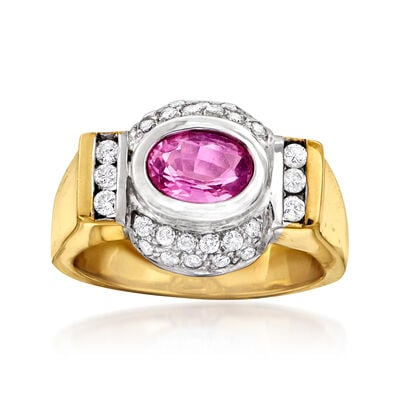 C. 1980 Vintage .95 Carat Pink Sapphire and .50 ct. t.w. Diamond Ring in 14kt Two-Tone Gold, , default