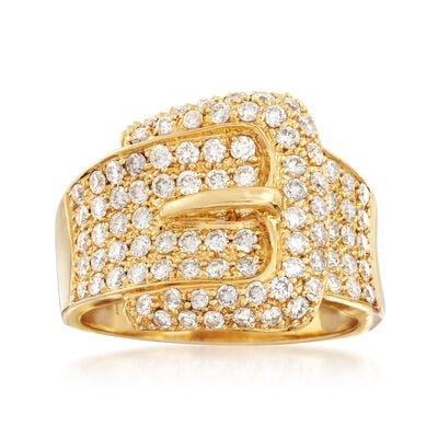 C. 1990 Vintage 1.22 ct. t.w. Diamond Buckle Ring in 18kt Yellow Gold, , default