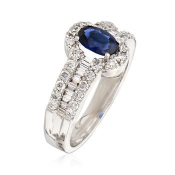 1.00 ct. t.w. Diamond and .80 Carat Sapphire Ring in 18kt White Gold. Size 6.75