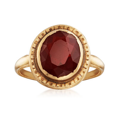 C. 1960 Vintage 3.70 Carat Simulated Ruby Ring in 14kt Yellow Gold, , default