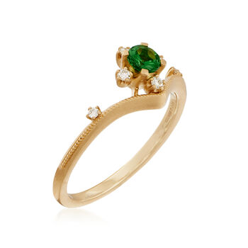 Simon G. .26 Carat Tsavorite Ring with Diamond Accents in 18kt Yellow Gold. Size 7, , default