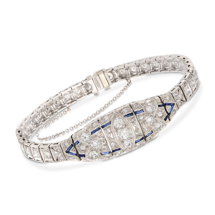 C. 1950 Vintage 4.00 ct. t.w. Diamond and .40 ct. t.w. Synthetic Sapphire Bracelet in Platinum