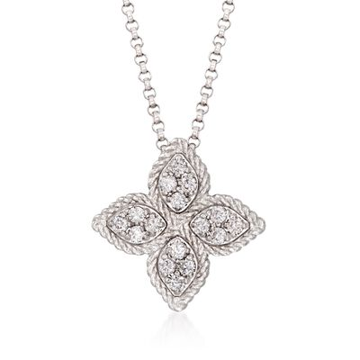 "Roberto Coin ""Princess Flower"" .17 ct. t.w. Diamond Medium Flower Pendant Necklace in 18kt White Gold, , default"