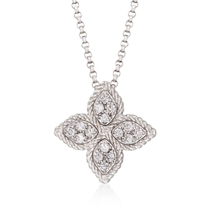 "Roberto Coin Princess Flower .17 Carat Total Weight Diamond Necklace in 18-Karat White Gold. 16"", , default"