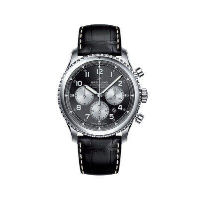 Breitling Navitimer 8 B01s Men's 43mm Auto Chronograph Stainless Steel Watch - Black Leather Strap, , default