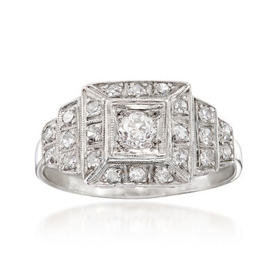 C. 1950 Vintage .55 ct. t.w. Diamond Cluster  Ring in Platinum
