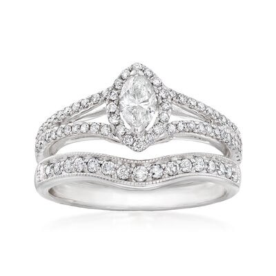 C. 1990 Vintage .88 ct. t.w. Diamond Jewelry Set: Engagement and Wedding Rings in 14kt White Gold