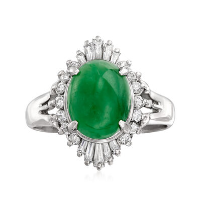 C. 2000 Vintage Jade and .45 ct. t.w. Baguette and Round Diamond Ring in Platinum