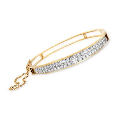 C. 1950 Vintage 2.25 ct. t.w. Diamond Double-Row Bangle Bracelet in 14kt Yellow Gold