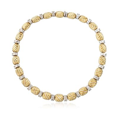 C. 2000 Vintage Faraone Mannella 1.90 ct. t.w. Diamond Bead Necklace in 18kt Yellow Gold, , default