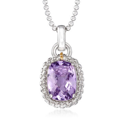 "Phillip Gavriel ""Popcorn"" 5.00 Carat Amethyst Pendant Necklace in Sterling Silver with 18kt Yellow Gold, , default"