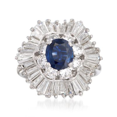 C. 1990 Vintage 1.42 Carat Sapphire and 2.60 ct. t.w. Diamond Ring in 18kt White Gold